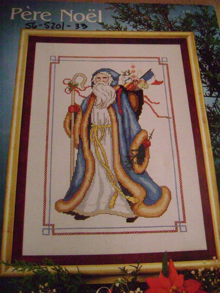 pere noel  french father christmas  cross stitch pattern