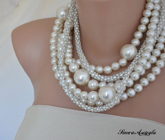 Bridal Bold Chunky Ivory Pearl Necklace with by HMbySemraAscioglu, $98.00