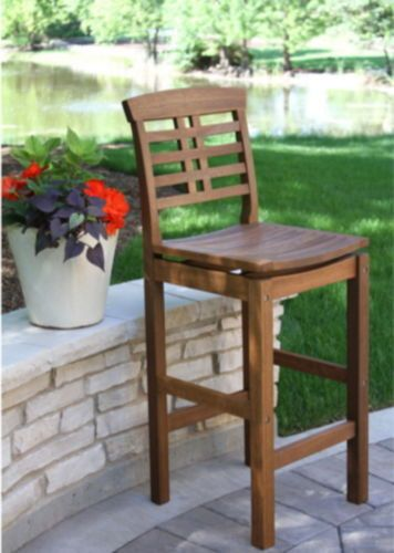 Contemporary Outdoor Bar Stool Saddle Seat Patio Furniture Umber Brown Finish