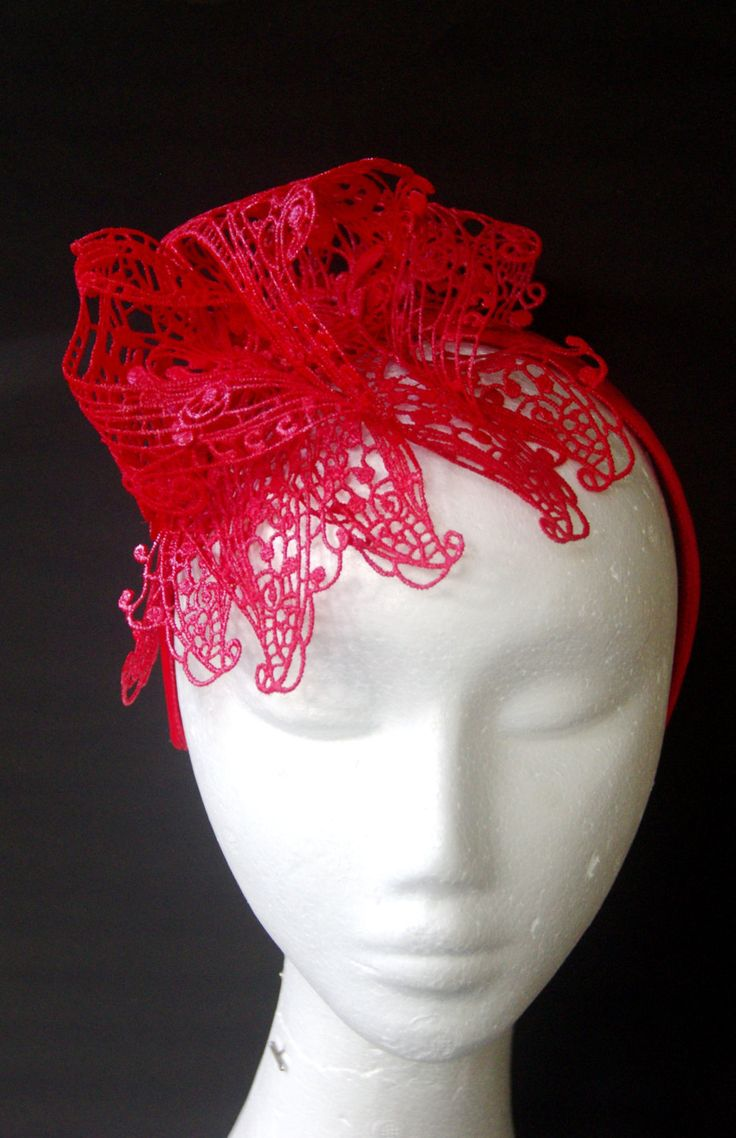Designer fascinator one of a kind. Red lace hand sewn on headband races, cup fashions on the feild by TwistedInTheTropics on Etsy