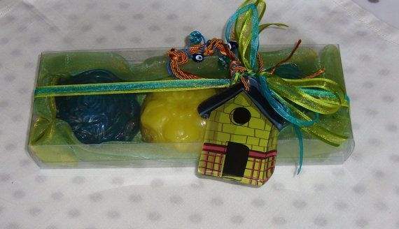 Christmas Charm For Good Luck: Luxury Green, Azure, Yellow Christmas Handmade Gift Set with three small Glycerin Scented Soaps (one Yellow Color, Lemon scent, two Blue Azure Color, Jasmine scent) and a lovely handmade glass Christmas Charm for Good Luck in the packaging.  A very elegant, stylish gift for Christmas !  Show your family, friends and relatives, your love by giving them this excellent and unusual gift for Good Luck !!!!