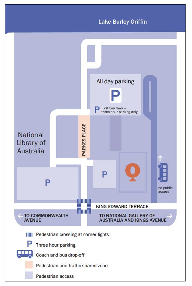 Map of parking around Questacon. All day parking and three hour parking is available off Parkes Place. Pedestrian crossings are at the Parke...