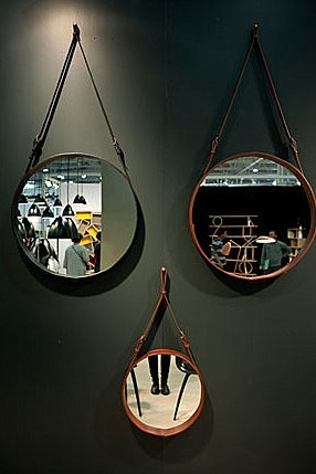 1950s Adnet mirrors.  A classic from Gubi. This mirror is like a piece of jewelry for the room and was designed by Jacques Adnet, that´s why it is called Adnet Mirror.