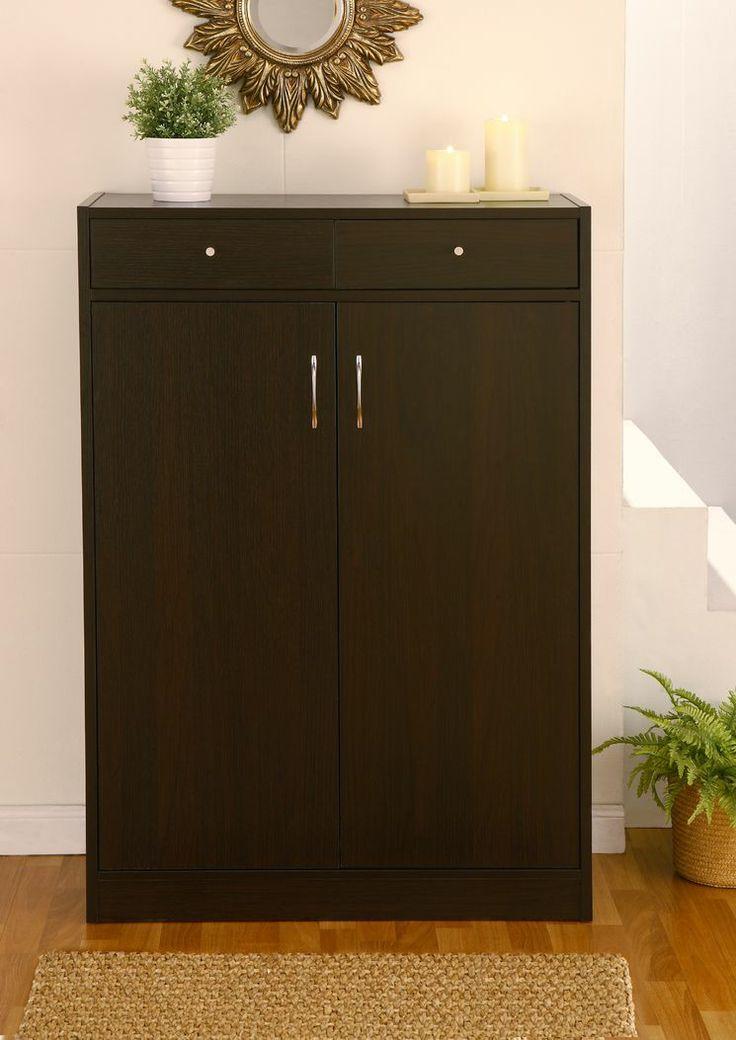 Brick Modern 5 Shelf Shoe Cabinet with 2 Drawers | Modern ...