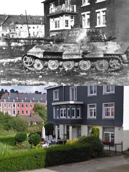 Then and Now WWII. Tiger II in Stavelot, Belgium, during the Ardennes Offensive of 16 Dec 1944 – 25 Jan 1945. The Battle of the Bulge.