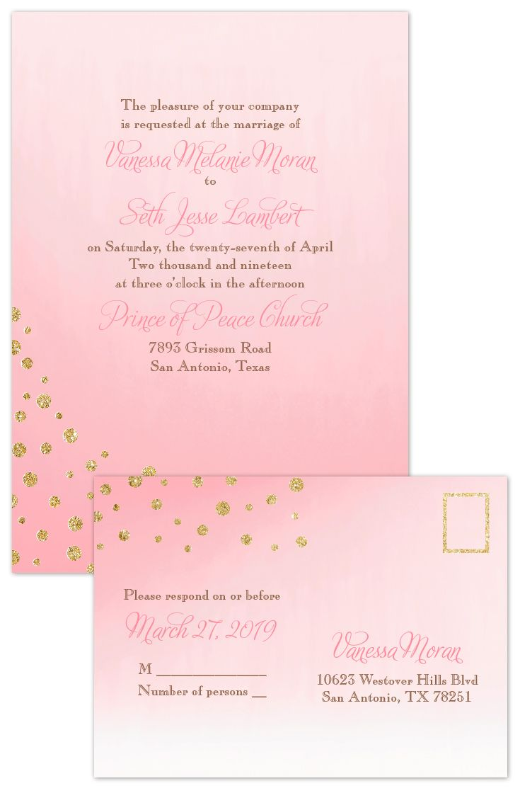 make your own wedding invitations online free%0A Gold Dust  Faux Glitter  Invitation with Free Response Postcard