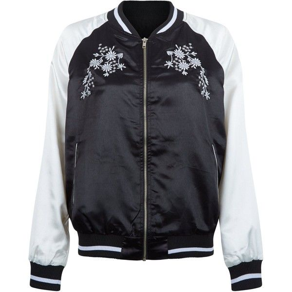 New Look Innocence Black Contrast Sleeve Floral Embroidered Bomber... (£35) ❤ liked on Polyvore featuring outerwear, jackets, black pattern, bomber jacket, zip front jacket, bomber style jacket, long sleeve jacket and flight jacket