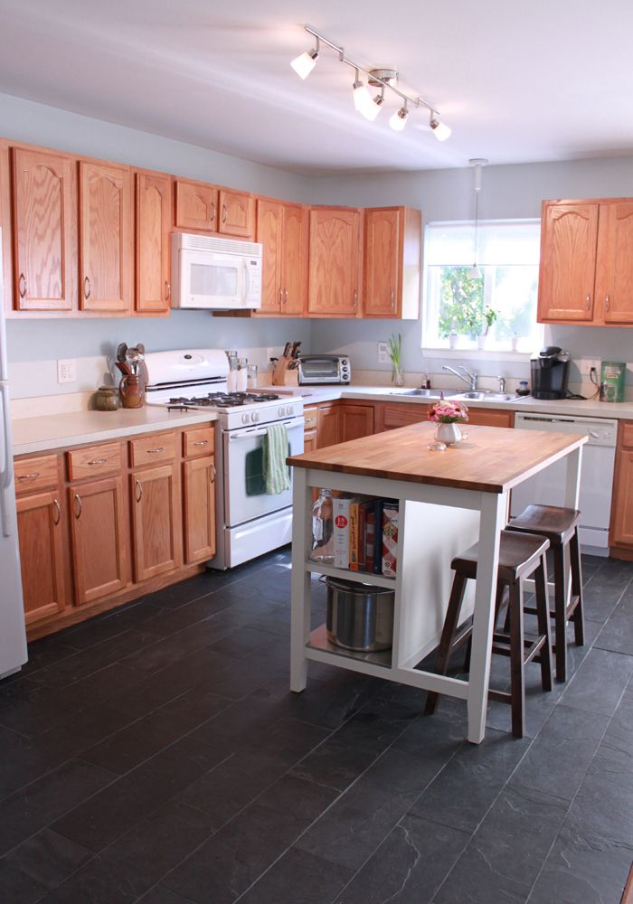 Kitchen Ikea Island Slate Tile Floor Home Diy Think Diy Flooring May Be Beyond Me