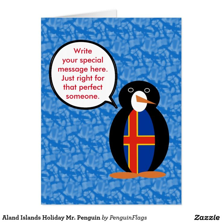 Aland Islands Holiday Mr. Penguin Humungeous Card designed by @AuntieShoe