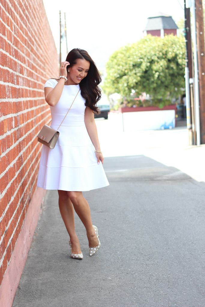 StylishPetite.com | Little White Dress and Polka Dots (plus Anthropologie sale alert)