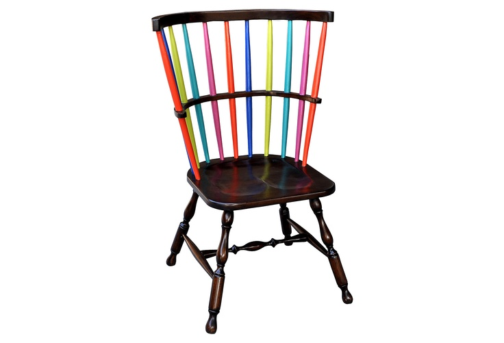 Rainbow Chair: Rainbows Chairs, Dining Rooms Chairs, Steven Shells, Fun Chairs, Accent Chairs, Colors Chairs, Windsor Chairs, Cool Chairs, Amabel Rainbows