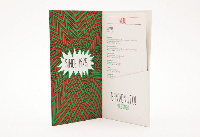 Conceptual menu design for Dimitri's Pizzeria, Crown St, Sydney.