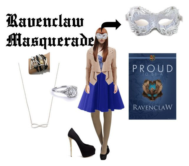 """""""Ravenclaw Masquerade"""" by redlikesnow ❤ liked on Polyvore featuring Object Collectors Item, Masquerade and Giuseppe Zanotti"""