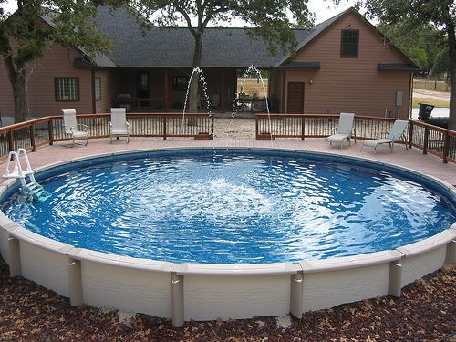 ideas large round above ground pool decks that can be decor with wooden fence can add the beauty inside it has fresh nuance inside the pool that can add the