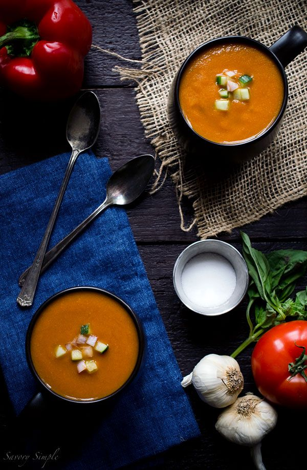 Celebrate summer's bounty with this roasted tomato gazpacho soup recipe. A tradition in Spain.