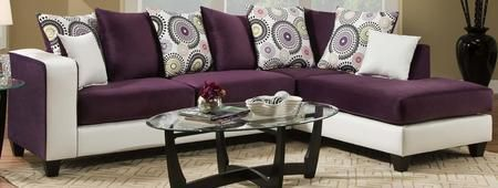 Ame 424124-05-SEC Sectional with Toss Pillows Left Arm Facing Sofa and Right Arm Facing Chaise in Implosion Purple and Dempsey White