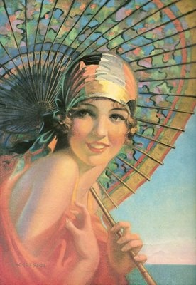 "Cover image by Eggleston for ""Needlecraft, the Home Arts Magazine"", August 1933  Woman with a parasol http://www.pinterest.com/source/flickr.com/"