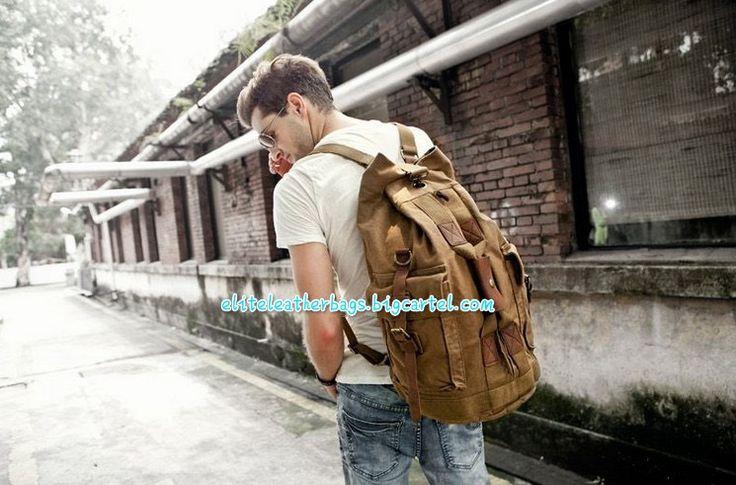 Image of MEN'S VINTAGE CANVAS HIKING TRAVEL MILITARY BACKPACK MESSENGER TOTE BAG  L114