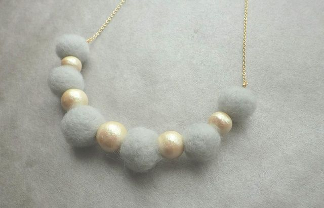 Grey felt and pearls