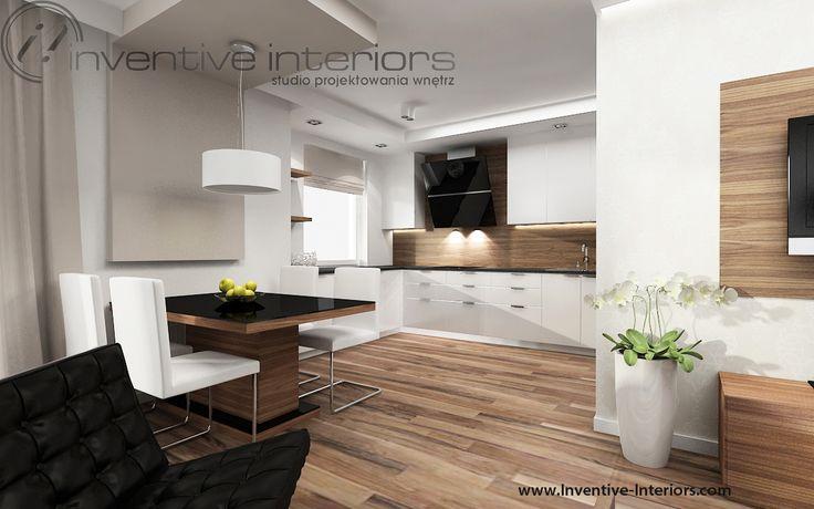 Projekt salonu Inventive Interiors - pokój dzienny z częściowo otwartym aneksem kuchennym, stół w salonie