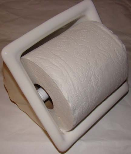 "recessed ceramic toilet paper holder from Eclectic-ware - ideally need 3 1/2"" wall cavity."