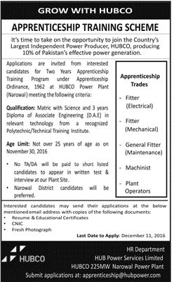 Jobs in Hub Power Services Limited 4 Dec 2016 for fitter, machinist, plant operators