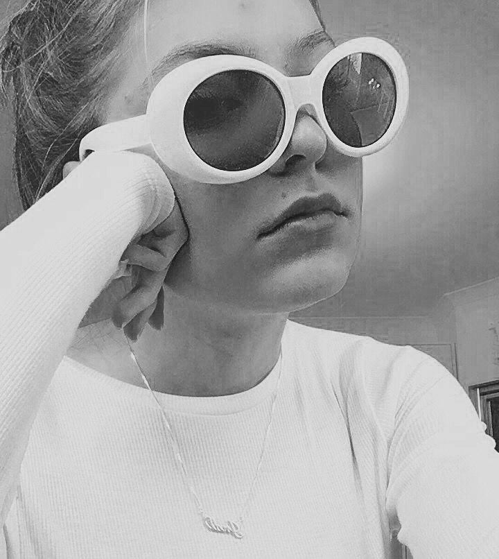 90s 80s Clout Aesthetic White Round Glasses Black N White