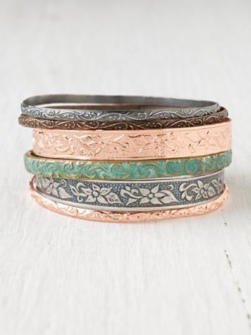 Medina Copper Bangles: Colors Combos, Copper Bangles, Medina Copper, Jewelry Design, Spring Colors, People Bangles, Stacking Bracelets, Free People, Bangles Bracelets