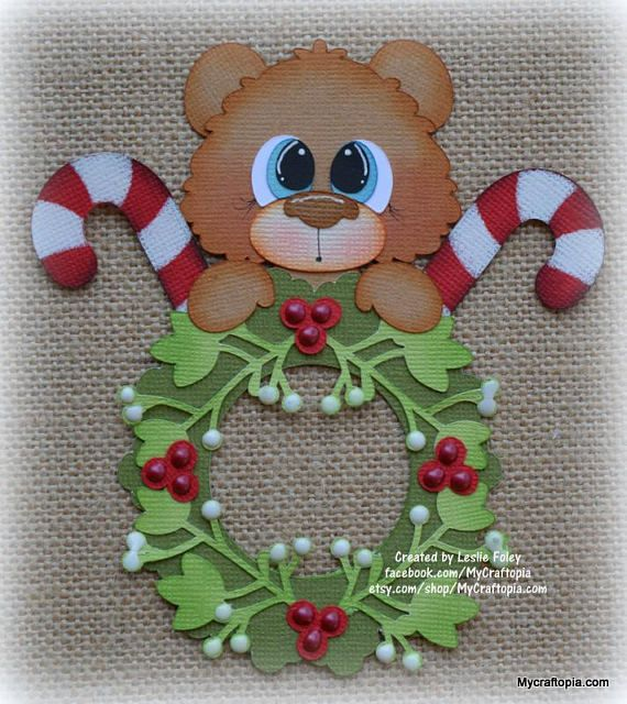 Wreath Bear Christmas Premade Scrapbooking Embellishment Paper