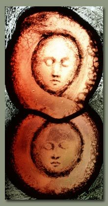 Adam and Eve. Stained glass panel by Benjamin Finn. This panel is one of a pair…