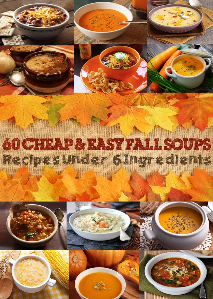 60 Cheap and Easy Fall Soup Recipes Under 6 Ingredients Fall weather means it's time for hearty soups to keep you warm on cool days. Ditch the overpriced canned soups for healthy and homemade soup recipes. Yes, canned soups are more convenient, but chances are, you already have everything in your pantry and fridge that you need to cook an affordable, effortless soup (chicken broth, olive oil, milk, flour, etc.). Name brand soups are about $2 per serving. Many soups can be made at home for…