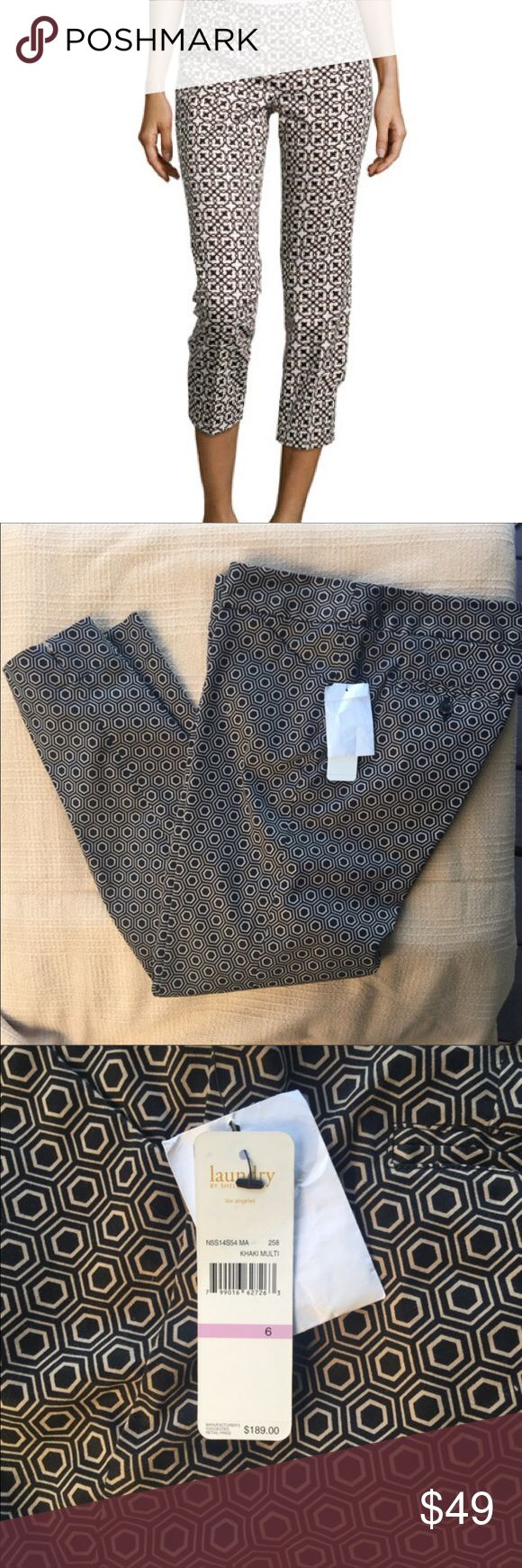 "NWT Laundry Shelli Segal Cropped Pants New with tags slick cropped pants, original price was $189. These are sleek enough for the office, and cool enough to wear out in the evening as well. You can't go wrong. The inseam is 26"", waist (laid flat) about 16 1/2 "". Laundry by Shelli Segal Pants Capris"