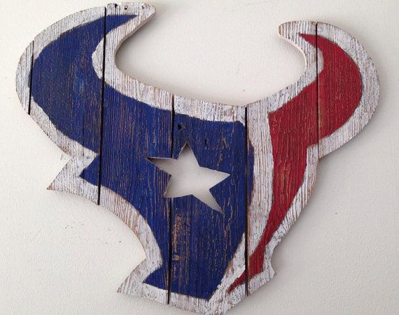 Handmade Houston Texans Logo crafted from locally reclaimed fencing. Approximately 24 inches tall by 24 inches wide. Texans logo is painted,