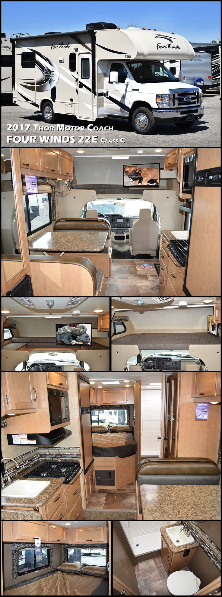 """Let the adventures begin in this Four Winds 22E class C motorhome by Thor Motor Coach providing you the freedom you need to see your dreams fulfilled! Up front there is a cab over bunk for more sleeping. You will also find a 24"""" TV with swivel base for viewing in multiple locations. A rear queen bed features overhead storage in front and along the curb side. The opposite rear corner features a complete bath with tub/shower, toilet, and vanity with sink, plus an overhead medicine cabinet."""