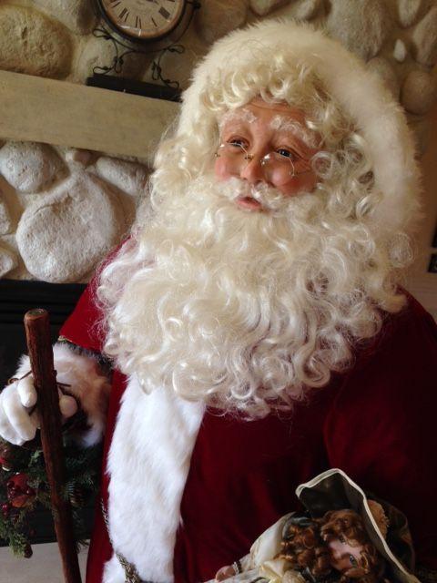 Life size Santa by Karen Vander Logt. Karen is an creative, master polymer clay artist. To view more of Karen's magnificent Santas visit: https://www.pinterest.com/karenvanderlogt/my-dolls-and-santas/
