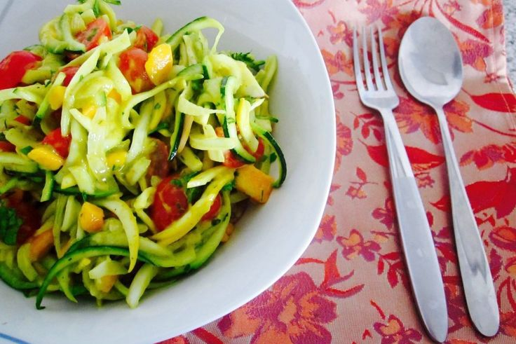 Zucchini & Herb Noodle Salad with Creamy Mango Curry Sauce