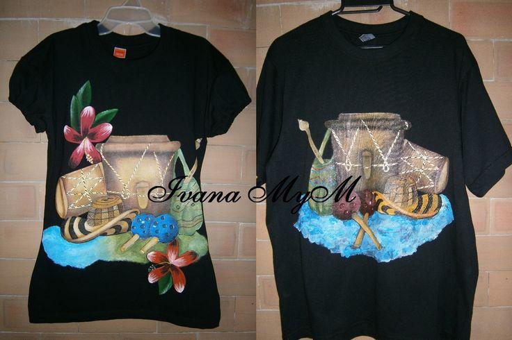 Camisetas típicas, pintadas a mano 100%