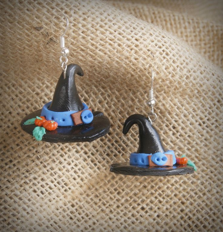 Earrings witch hat, ideas for Halloween. gift ideas, gift ideas, unusual gifts - SALE-birthday gift for her by WildDragoCraftShop on Etsy
