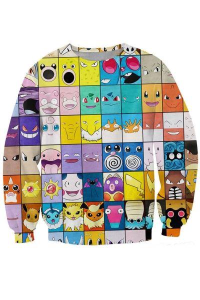 Grid Cartoon Emotional Icon Pattern Sweatshirt
