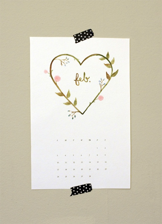 Free February Calendar Template. Designed and watercolored by Samantha Sullentrup.