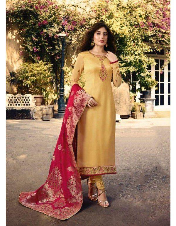 53370e0612 Kritika Kamra Champagne Suit with Banarasi Dupatta in 2019 ...