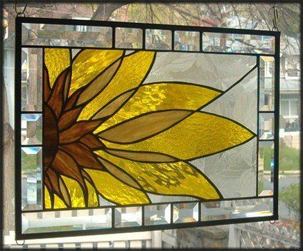 Abstract Sunflower Stained Glass Window Panel Signed and Dated   eBay