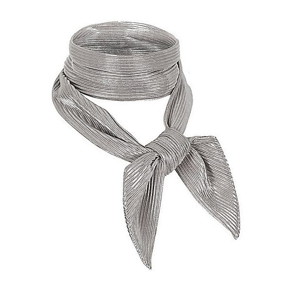 Silver pleated necktie scarf ❤ liked on Polyvore featuring accessories, scarves, metallic shawl, silver metallic shawl, silver shawl, silver scarves and metallic scarves
