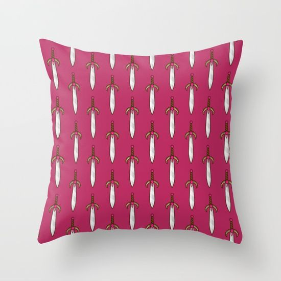 Throw Pillow made from 100% spun polyester poplin fabric, a stylish statement that will liven up any room. Individually cut and sewn by hand, each pillow features a double-sided print and is finished with a concealed zipper for ease of care.  Sold with or without faux down pillow insert. #swords #pattern #epic