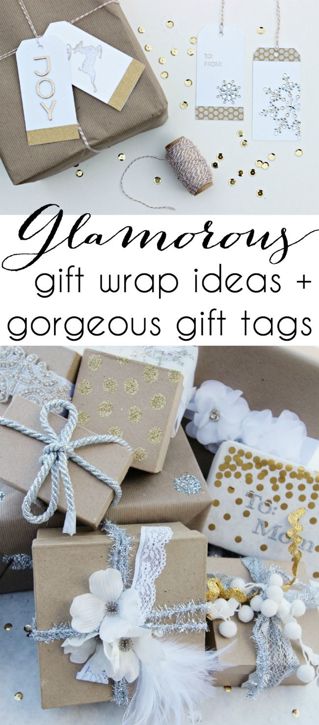 Glamorous Gift Wrap Ideas + DIY gift tags | Click for tutorial - www.classyclutter.net