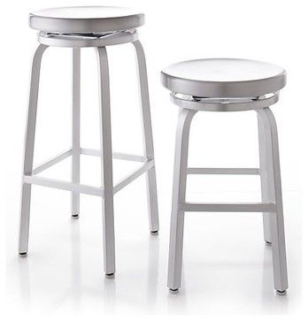 Spin Bar Stools | Crate & Barrel - industrial - bar stools and counter stools - by Crate&Barrel