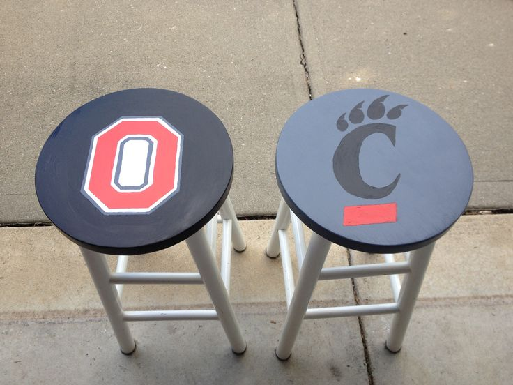 Repurposed bar stools, perfect for a man cave or sports themed basement