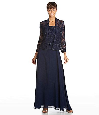 Ignite evenings beaded lace jacket dress dillards mother for Dillards wedding dresses mother of the bride