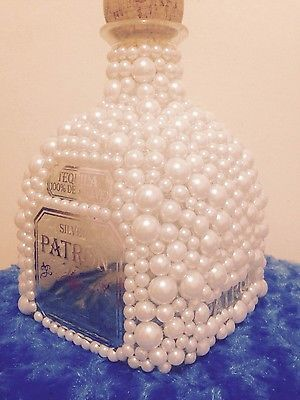 Empty white Pearl Patron Tequila bottle 1.75ml