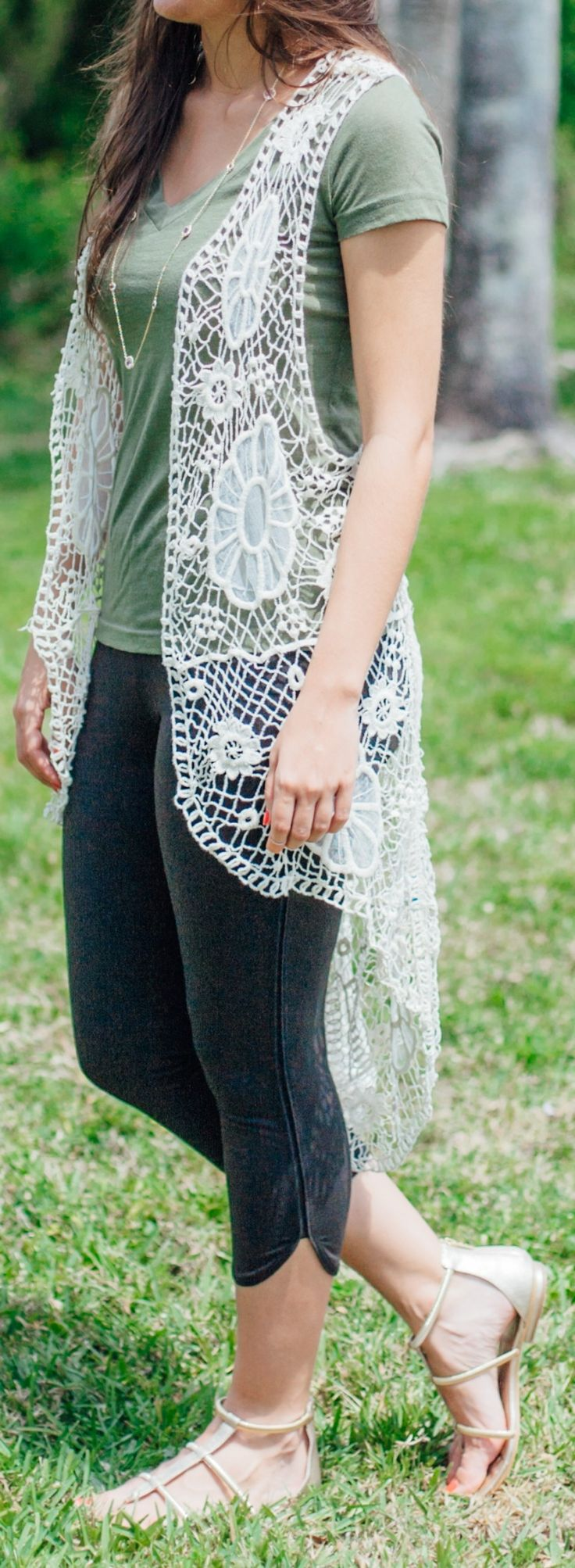 A crochet vest is a perfect lightweight layering piece to spruce up any spring/summer look! We're loving the detail on this Good+ vest! What do you think?